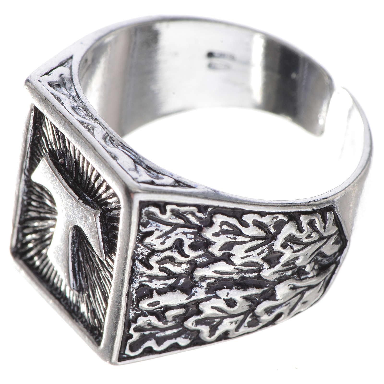 Anello episcopale argento 800 brunito tau 3