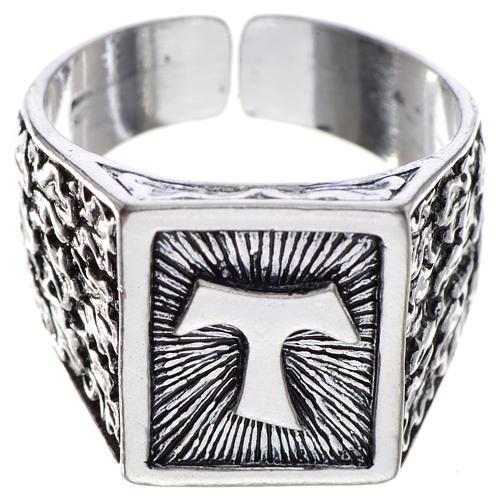 Anello episcopale argento 800 brunito tau 1
