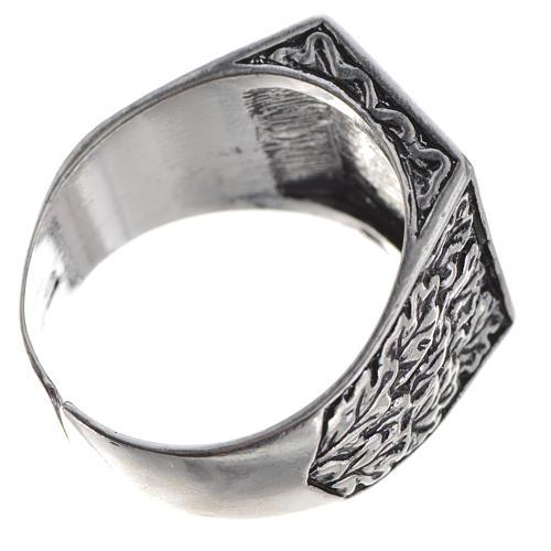 Anello episcopale argento 800 brunito tau 5