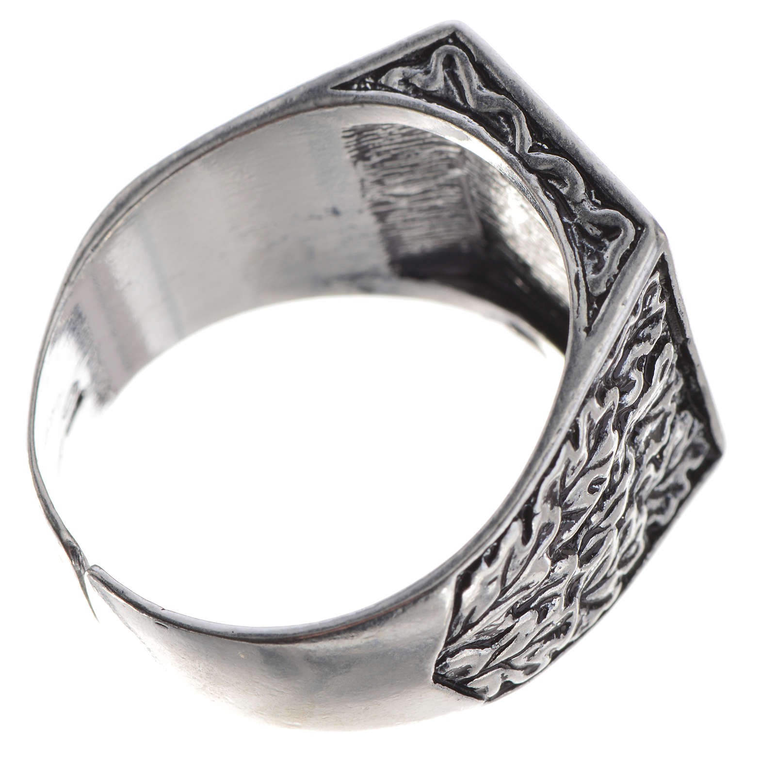 Bishop's ring, burnished 800 silver with Tau cross 3