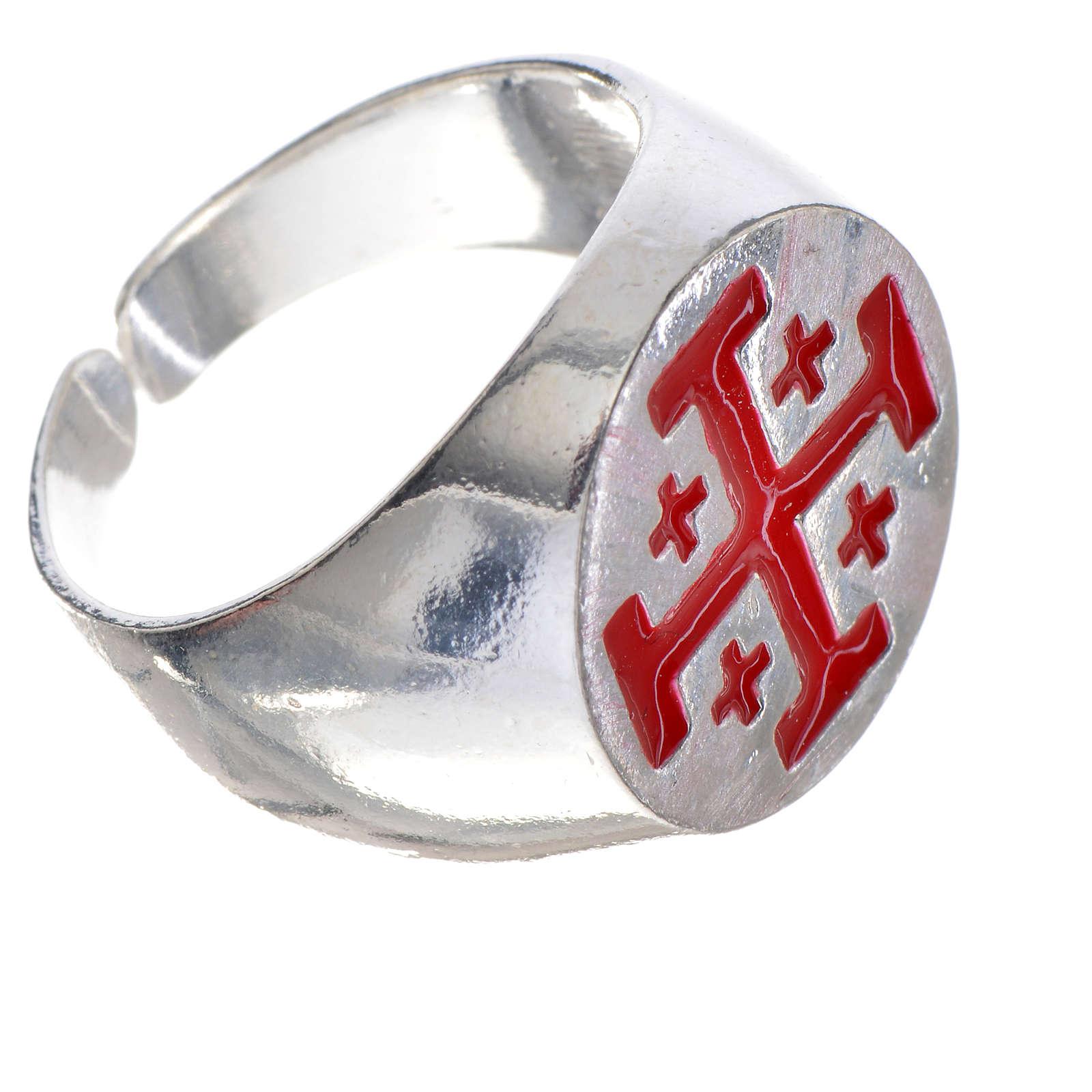 Anillo episcopal de plata 925, cruz de Jerusalén, esmalte rojo 3