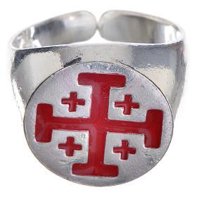 Anillo episcopal de plata 925, cruz de Jerusalén, esmalte rojo s1