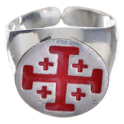 Anillo episcopal de plata 925, cruz de Jerusalén, esmalte rojo 1