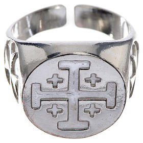Episcopal ring in 925 silver with Jerusalem cross s1