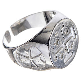 Episcopal ring in 925 silver with Jerusalem cross s2