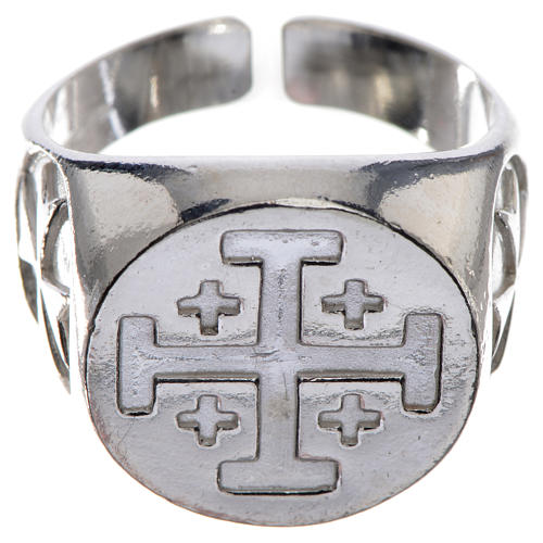 Episcopal ring in 925 silver with Jerusalem cross 1