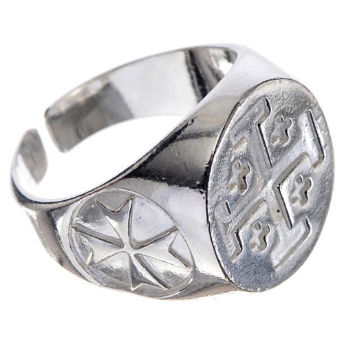 Episcopal ring in 925 silver with Jerusalem cross 2