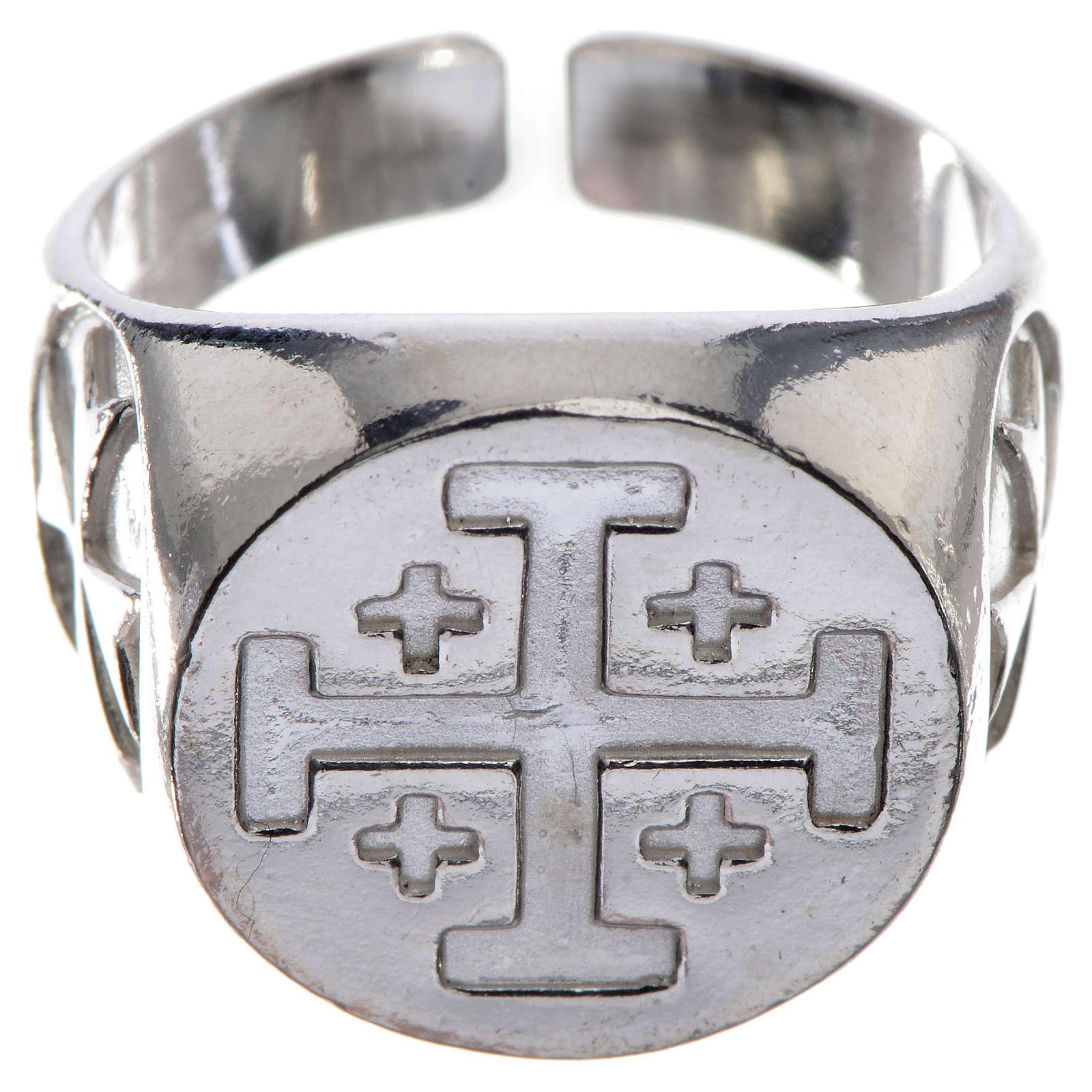 Bague évêque argent 925 croix Jérusalem 3