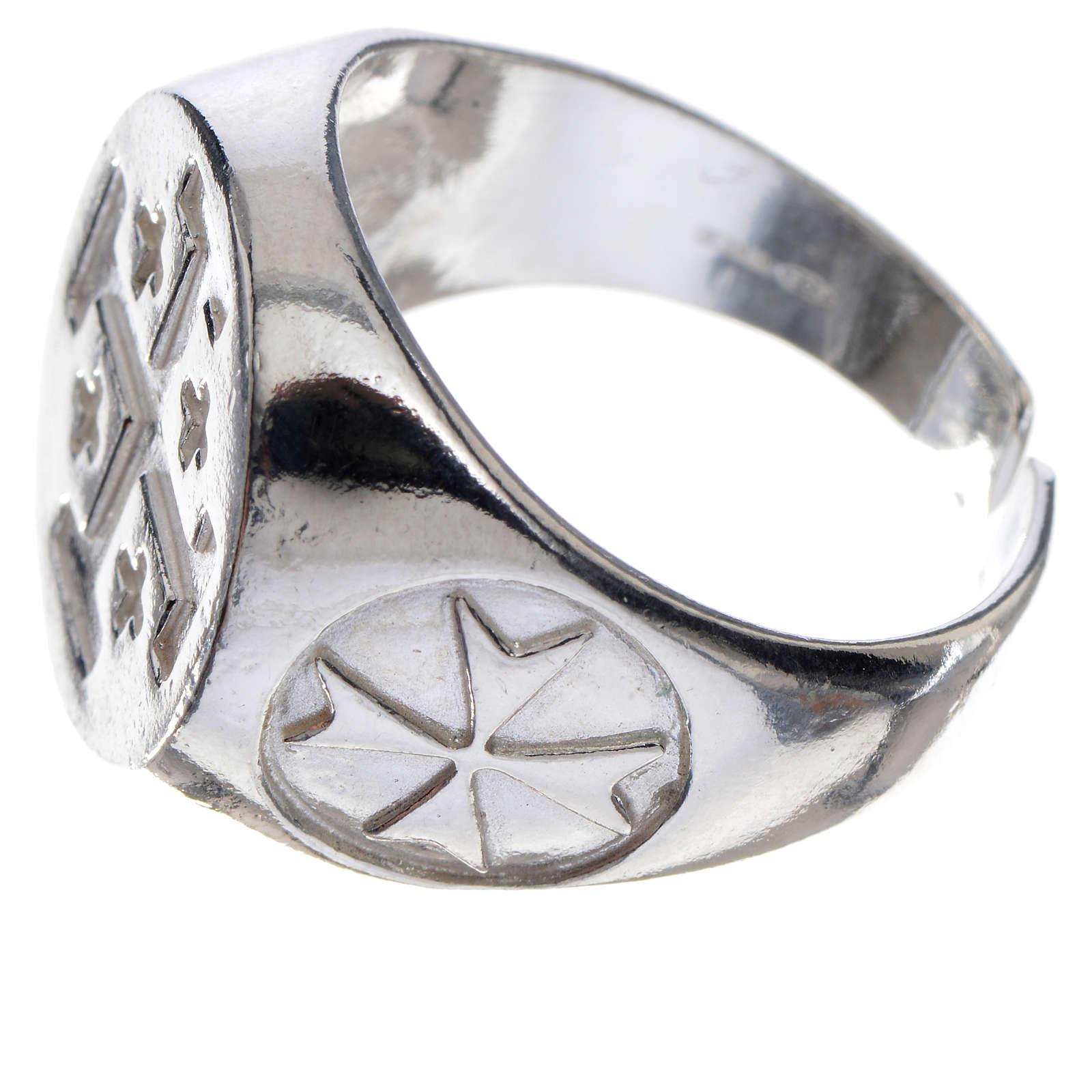 Anello vescovile argento 800 croce Jerusalem 3