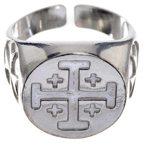 Anello vescovile argento 800 croce Jerusalem 1