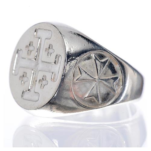 Anello vescovile argento 800 croce Jerusalem 5