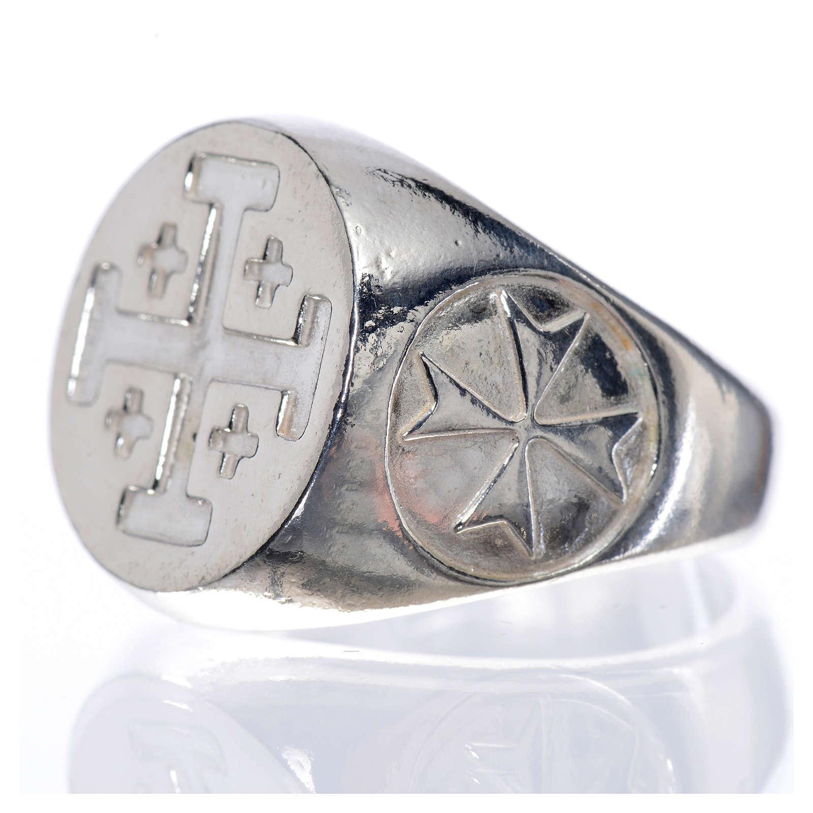 Anel bispo prata 925 cruz Jerusalém 3