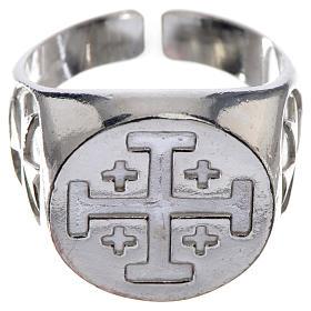 Insígnias Episcopais: Anel bispo prata 925 cruz Jerusalém