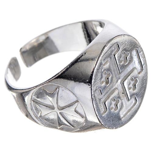 Anel bispo prata 925 cruz Jerusalém 2