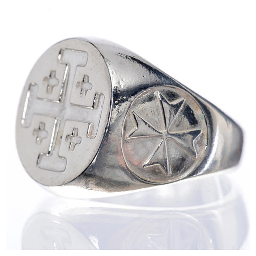Episcopal ring in 925 silver with Jerusalem cross 5