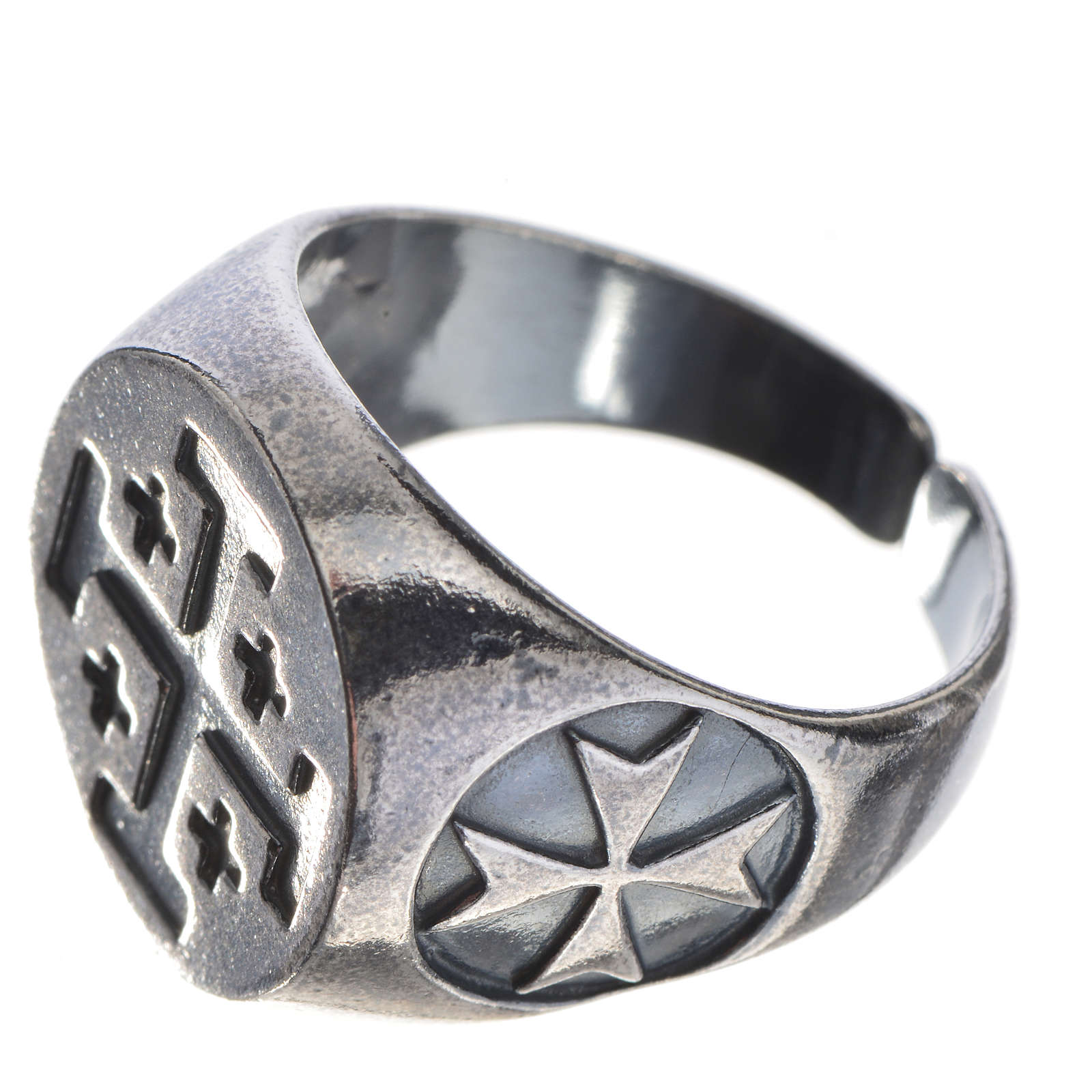Episcopal ring in burnished 800 silver with Jerusalem cross 3