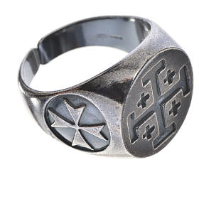 Episcopal ring in burnished 800 silver with Jerusalem cross s3