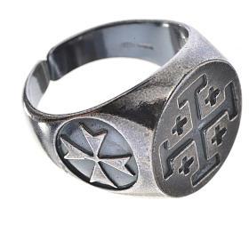 Anello vescovile argento 800 brunito croce Jerusalem s3