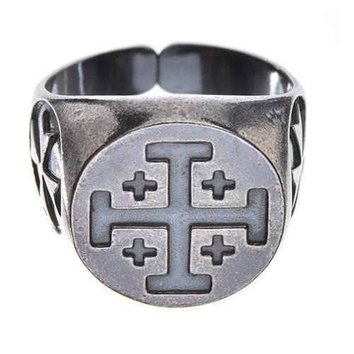 Anello vescovile argento 800 brunito croce Jerusalem 1