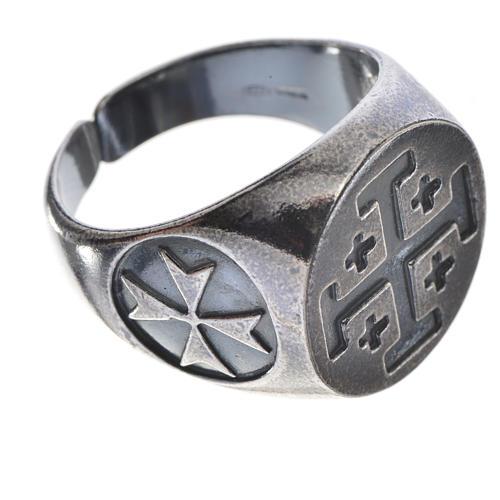 Anello vescovile argento 800 brunito croce Jerusalem 3