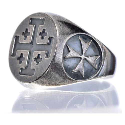 Anello vescovile argento 800 brunito croce Jerusalem 5