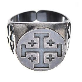 Pierścień biskupi srebro 800 oksydowane krzyż jerozolimski s1