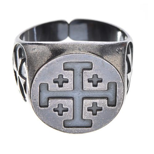 Pierścień biskupi srebro 800 oksydowane krzyż jerozolimski 1