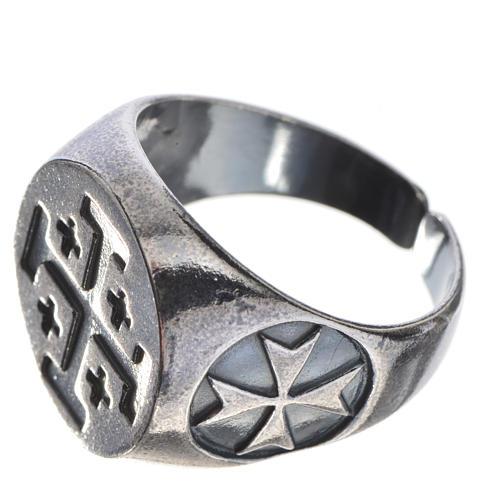 Pierścień biskupi srebro 800 oksydowane krzyż jerozolimski 2