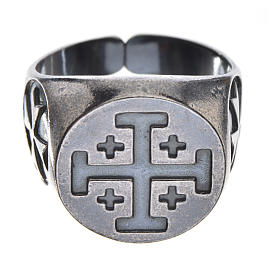 Anel para bispo prata 800 brunida cruz Jerusalém s1