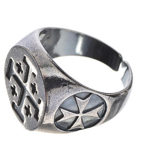 Episcopal ring in burnished 800 silver with Jerusalem cross s2