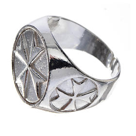 Bishop's ring in 925 silver with Maltese cross s2