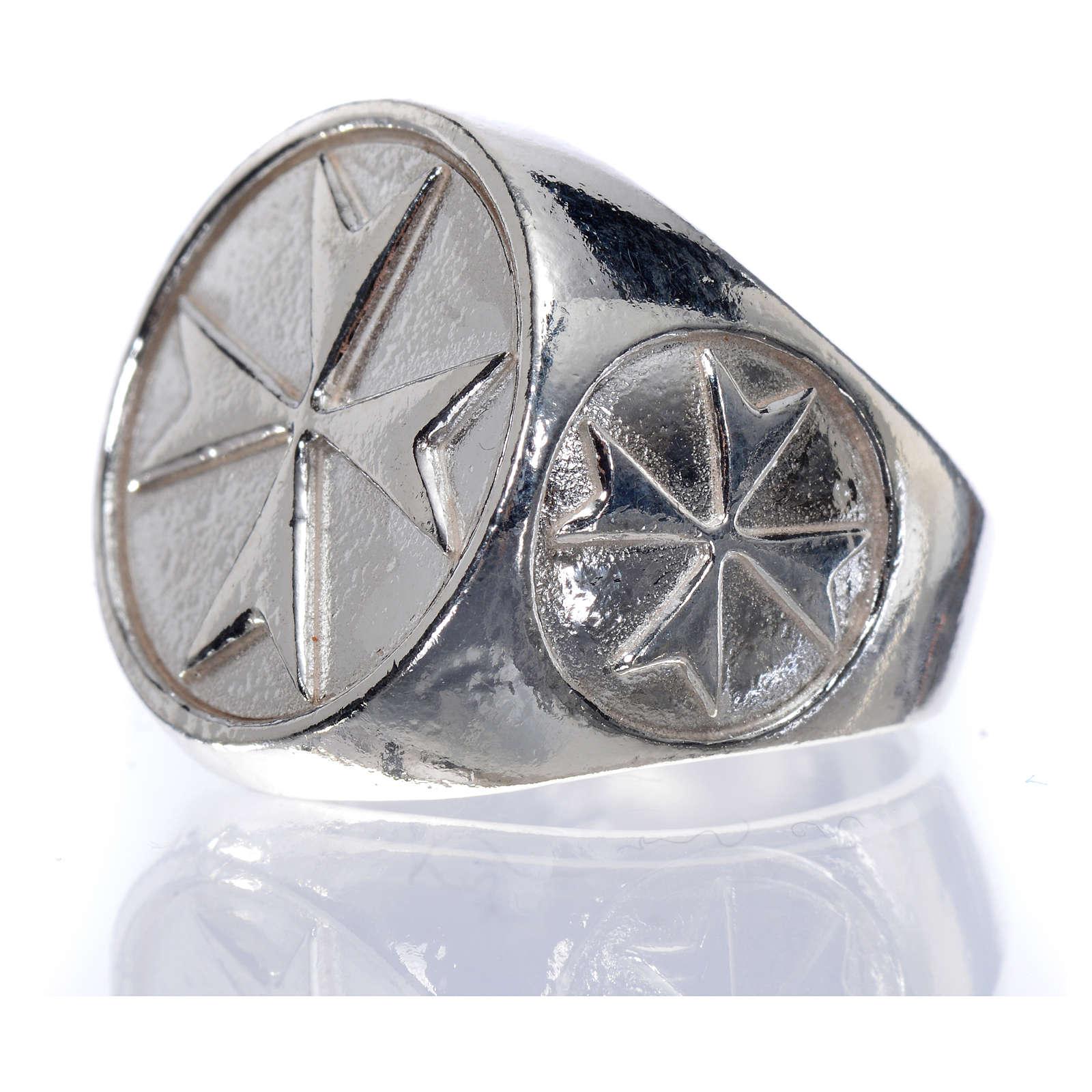 Anello per vescovi argento 925 croce di Malta 3
