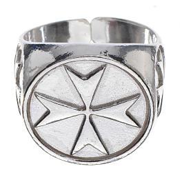 Anello per vescovi argento 925 croce di Malta s1