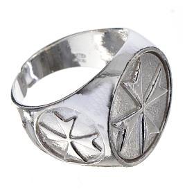 Anello per vescovi argento 925 croce di Malta s3