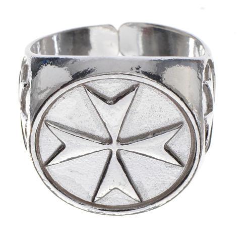 Anello per vescovi argento 925 croce di Malta 1