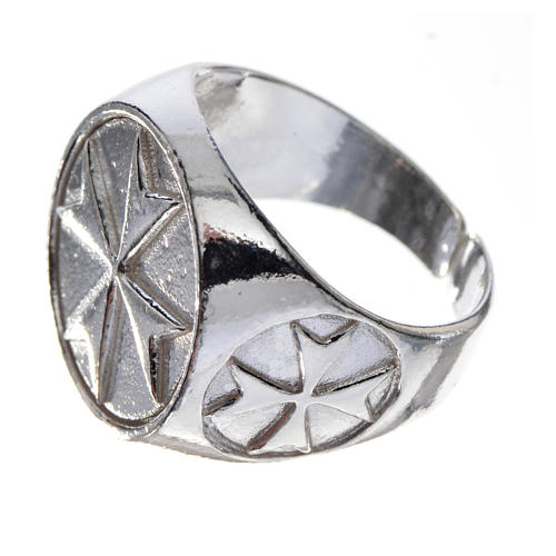 Anello per vescovi argento 925 croce di Malta 2