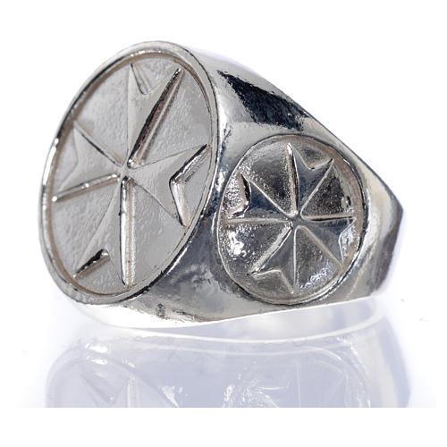 Anello per vescovi argento 925 croce di Malta 5