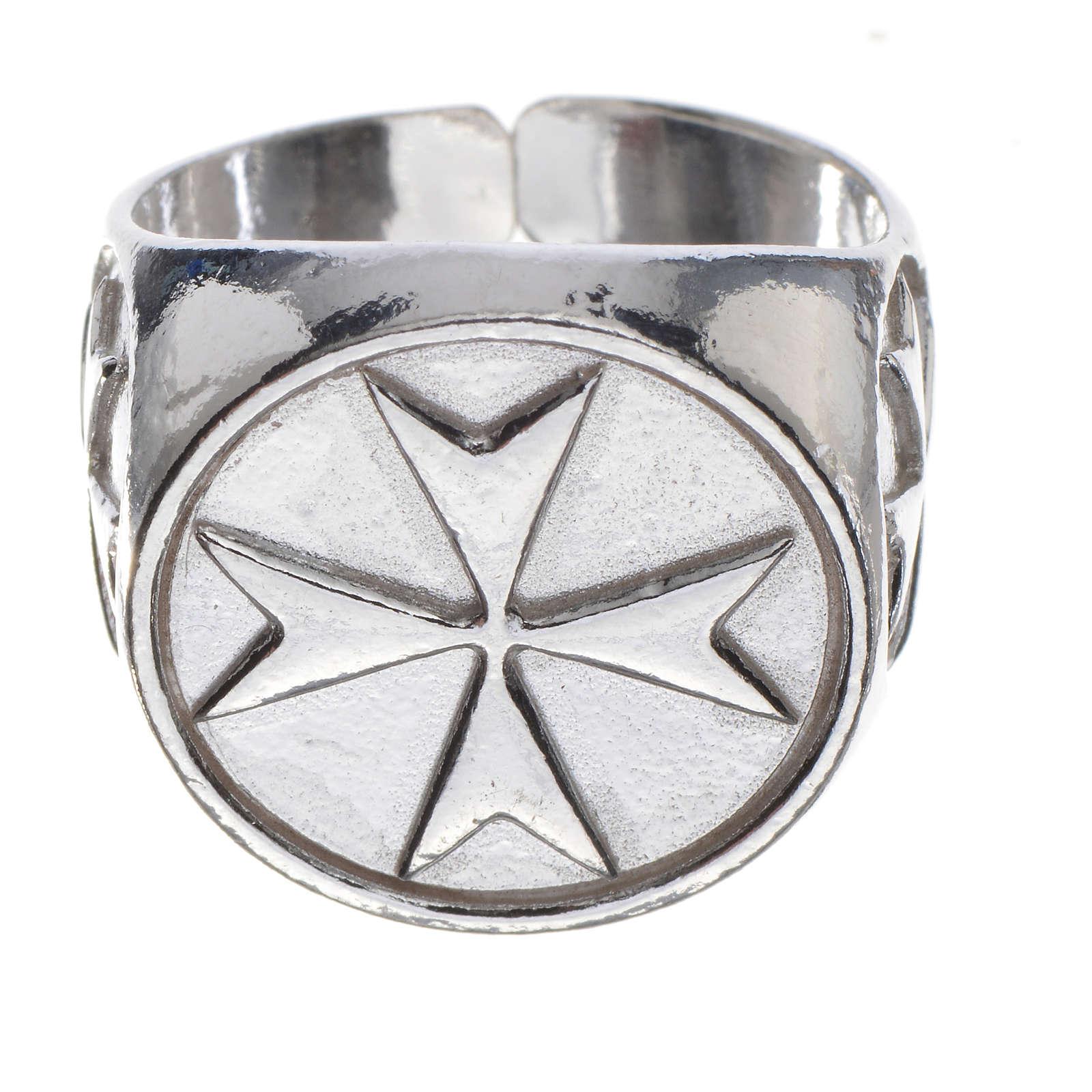 Anel para bispo prata 925 cruz de Malta 3