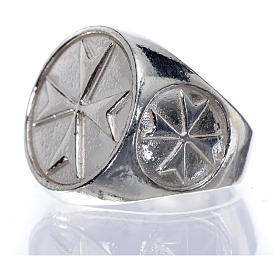 Bishop's ring in 925 silver with Maltese cross s5
