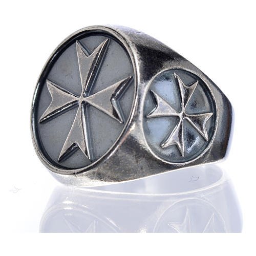 Bishop's ring in burnished 800 silver with Maltese cross 5