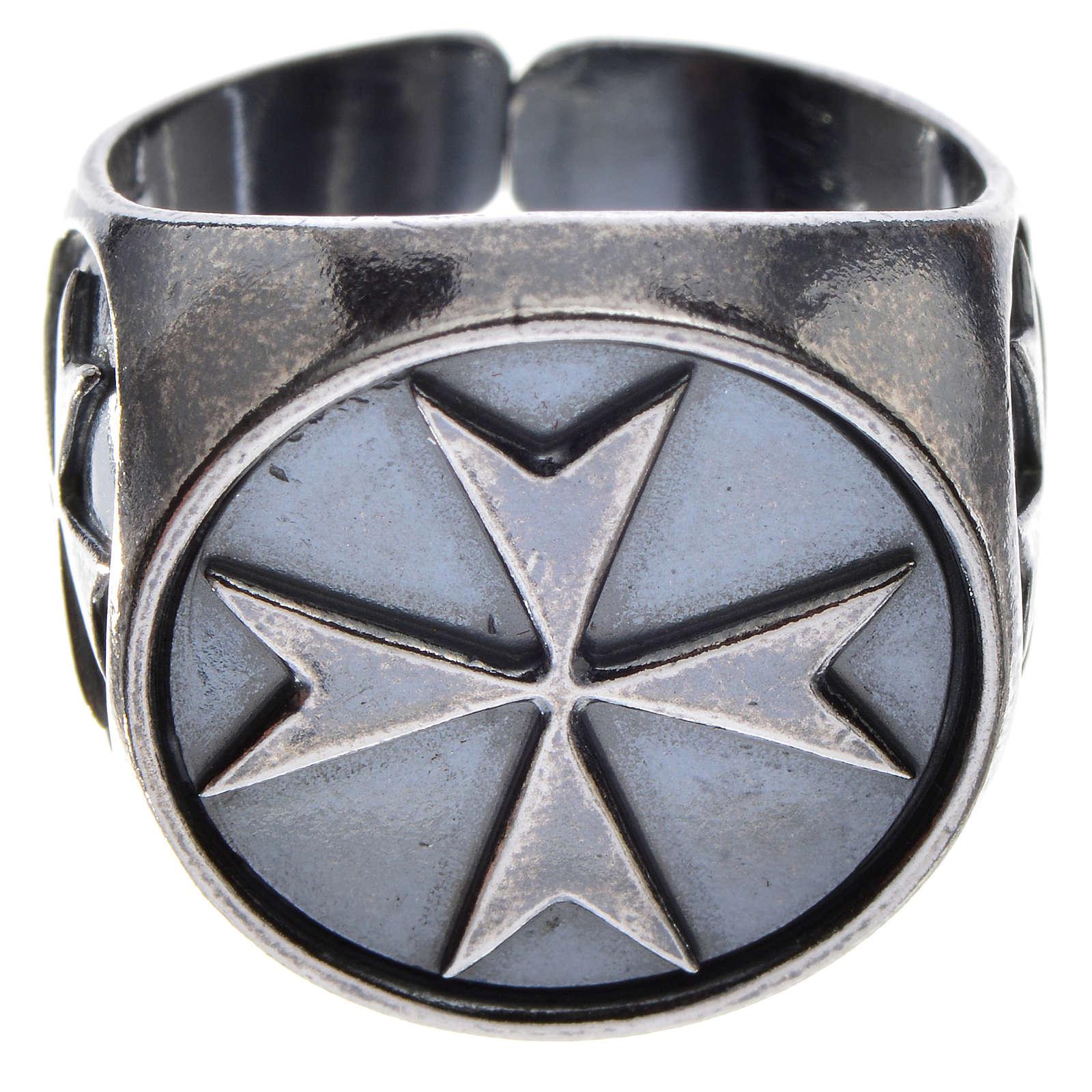 Pierścień biskupi srebro 800 oksydowane krzyż maltański 3