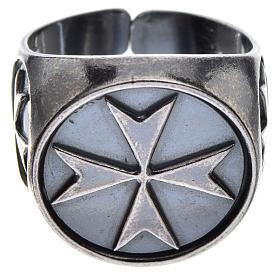 Pierścień biskupi srebro 800 oksydowane krzyż maltański s1