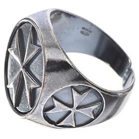 Pierścień biskupi srebro 800 oksydowane krzyż maltański s2