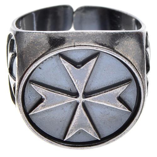 Pierścień biskupi srebro 800 oksydowane krzyż maltański 1
