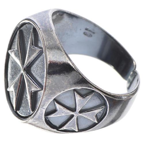 Pierścień biskupi srebro 800 oksydowane krzyż maltański 2