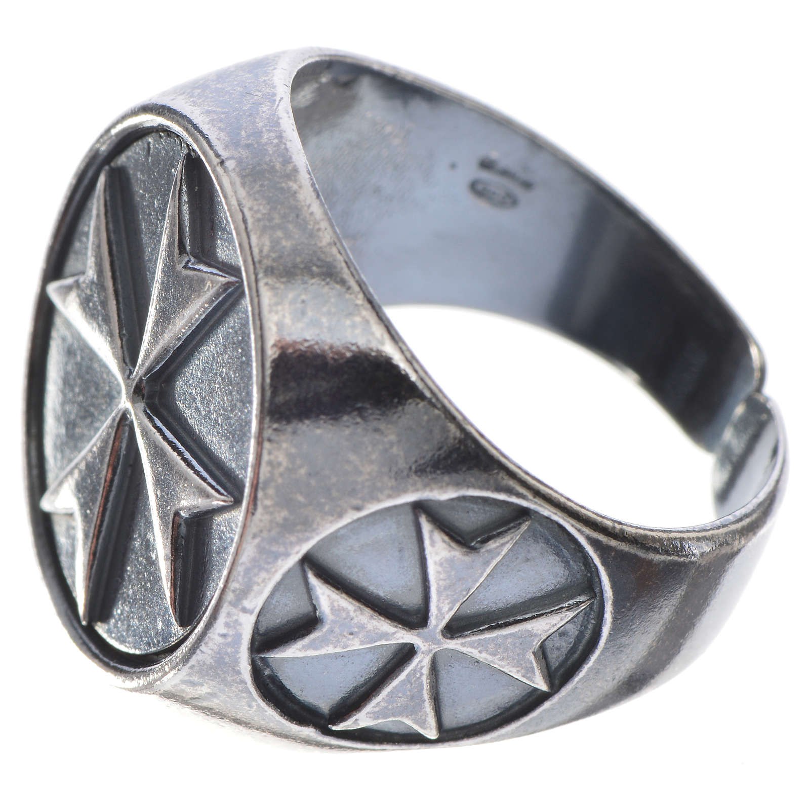 Bishop's ring in burnished 800 silver with Maltese cross 3