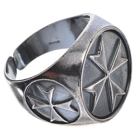 Bishop's ring in burnished 800 silver with Maltese cross s3