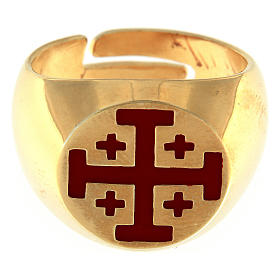 Bischofsring vergoldeten Silber 925 Jerusalem Kreuz s2