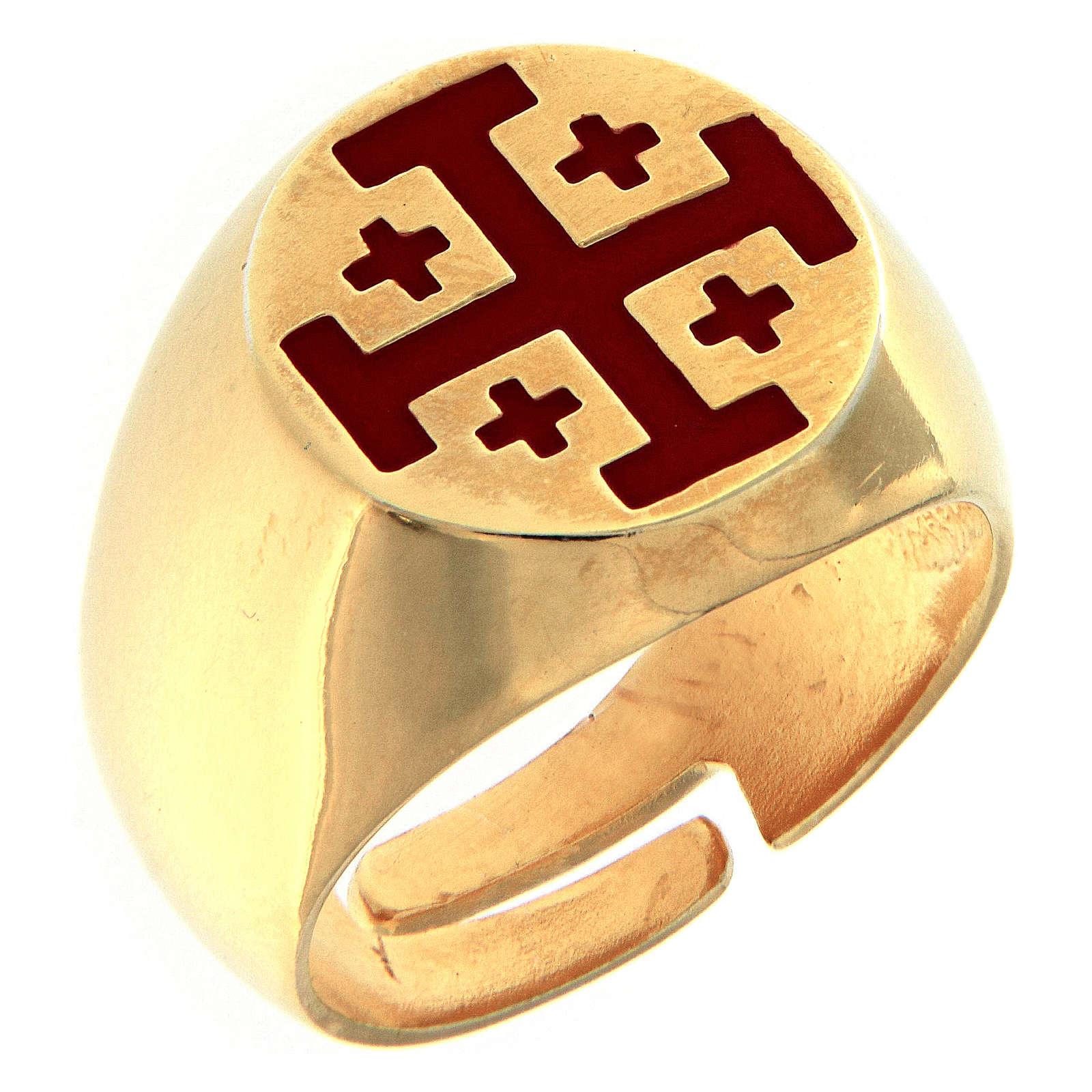 Anillo episcopal de plata 925 dorada con cruz de Jerusalén 3