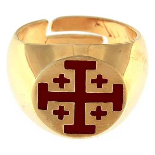 Anillo episcopal de plata 925 dorada con cruz de Jerusalén 2